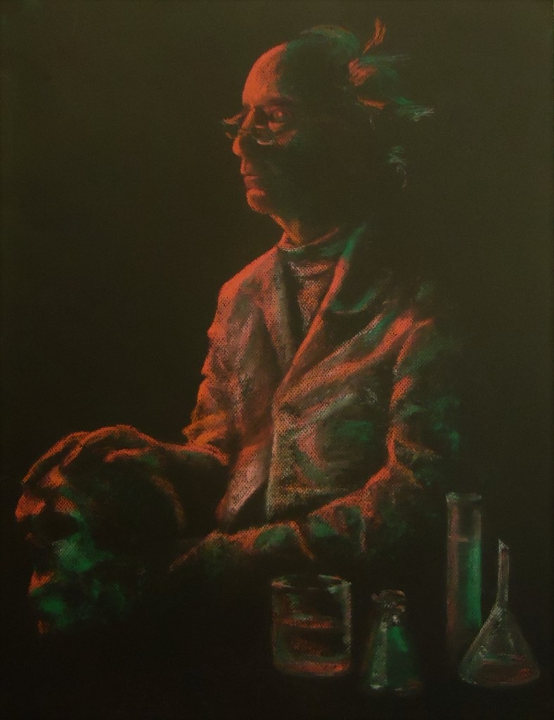 Mad Scientist by Laura Jaen Smith. Red and green pastel drawing of scientist with skull in hand beakers with liquid.