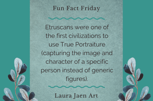 Fun Fact Friday graphic - Etruscans were one of the first civilizations to use True Portraiture (capturing the image and character of a specific person instead of generic figures).