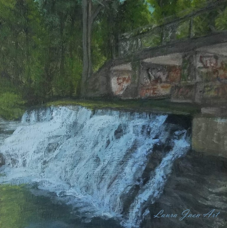 Papermill Falls by Laura Jaen Smith. Acrylic landscape painting of waterfall in Avon from 50 NY Waterfalls Project.