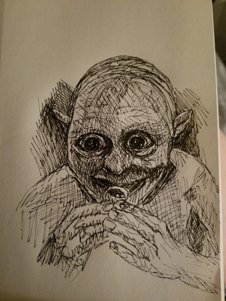 Sketchbook view of Precious by Laura Jaen Smith. Black and white ink drawing of gollum holding ring.