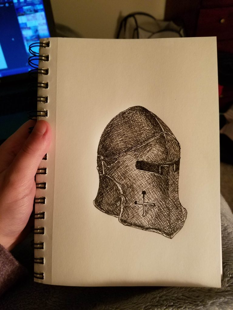 Sketchbook view of Guarded by Laura Jaen Smith. Black and white ink drawing of knight's helmet armor.