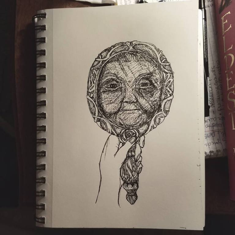 Sketchbook view of Cruel by Laura Jaen Smith. Black and white ink drawing of battered and scarred face reflection in handheld mirror.