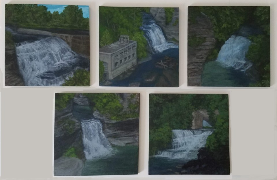 Fall Creek Gorge Collection by Laura Jaen Smith. 5 acrylic paintings of waterfalls - Triphammer Falls, Rocky Falls, Forest Falls, Foaming Falls.