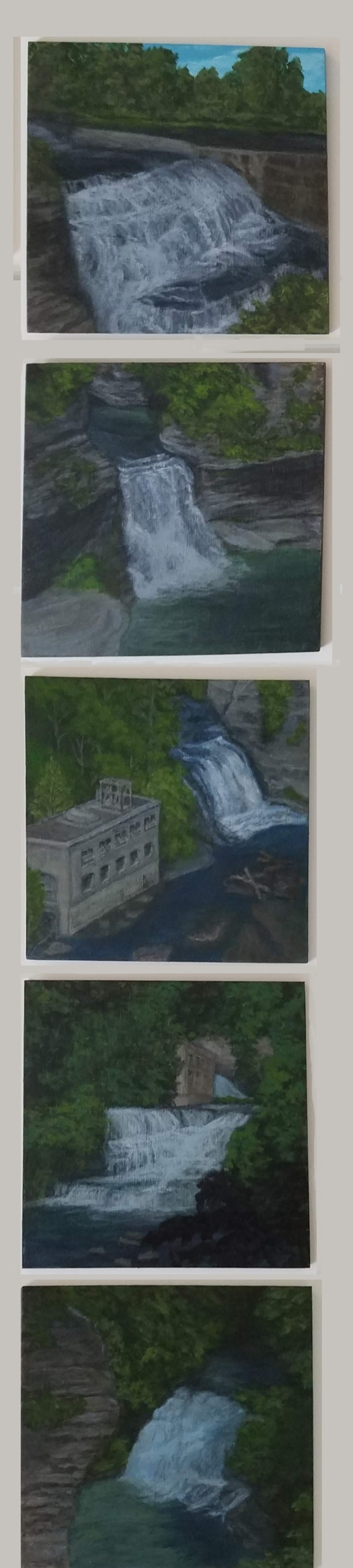 Fall Creek Gorge Collection by Laura Jaen Smith. 5 acrylic landscape paintings of waterfalls Ithaca from 50 NY Waterfalls Project.