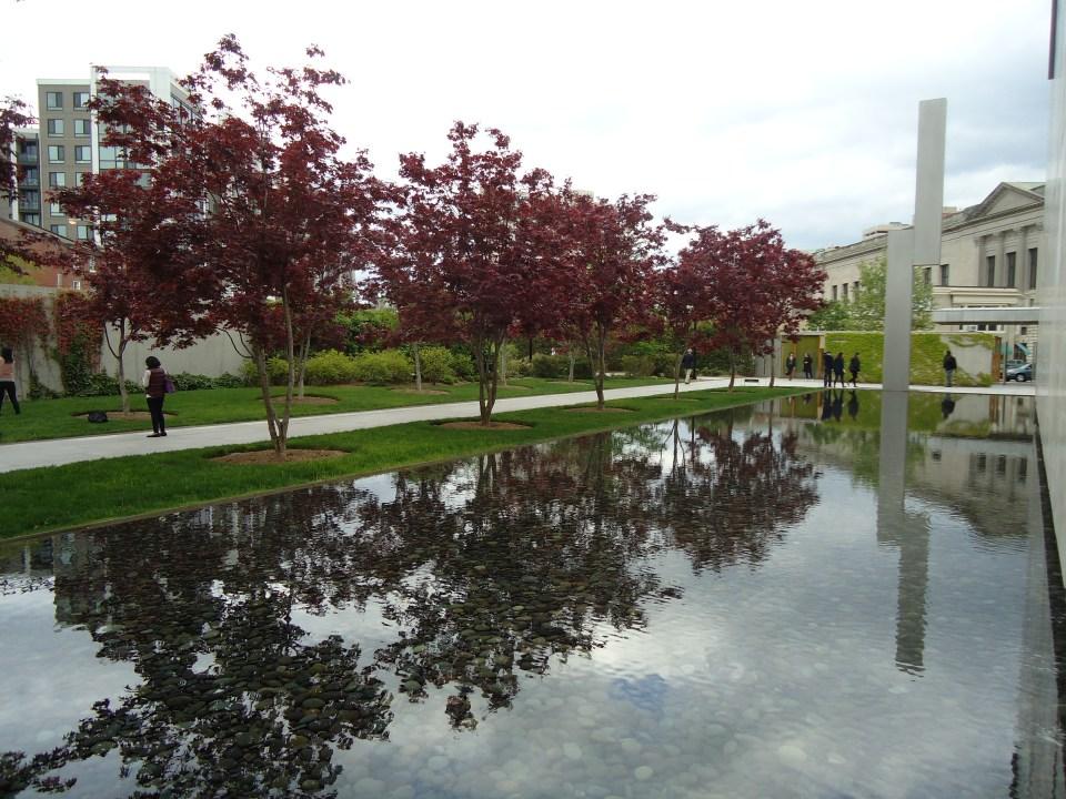 Photo of reflection pool outside Barnes Museum Philadelphia PA by Laura Jaen Smith