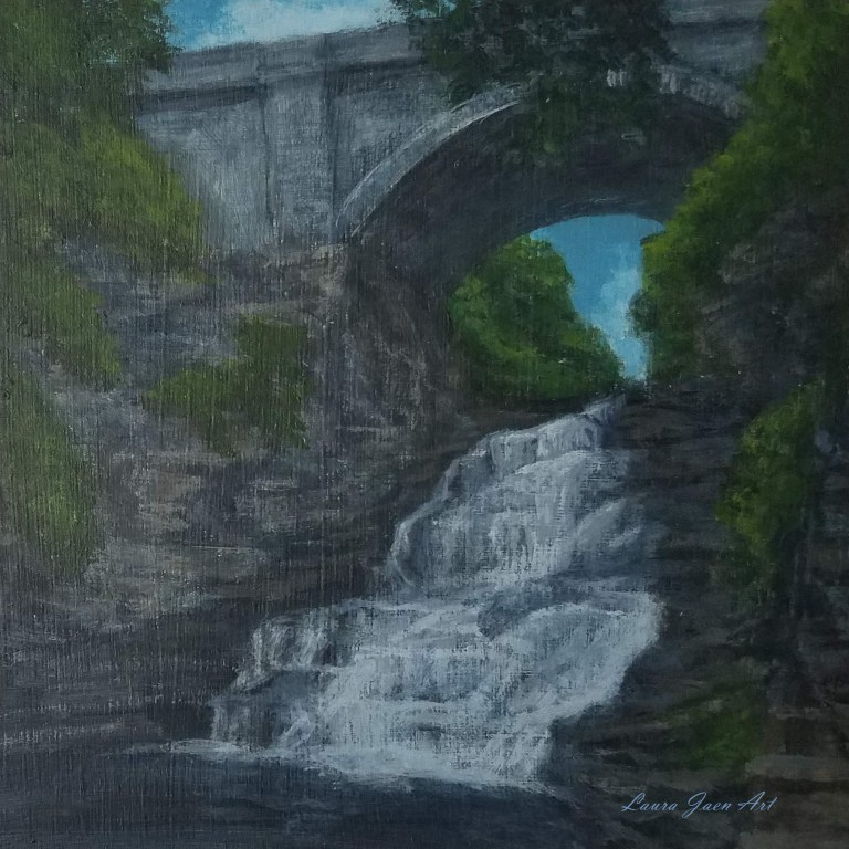 Giant's Staircase by Laura Jaen Smith. Acrylic landscape painting of Cascadilla Gorge Ithaca from 50 NY Waterfalls Project.