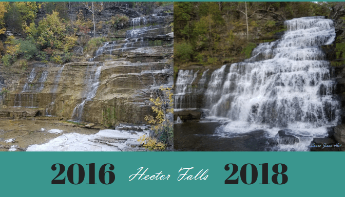 Photo comparison of Hector Falls 2016 and 2018