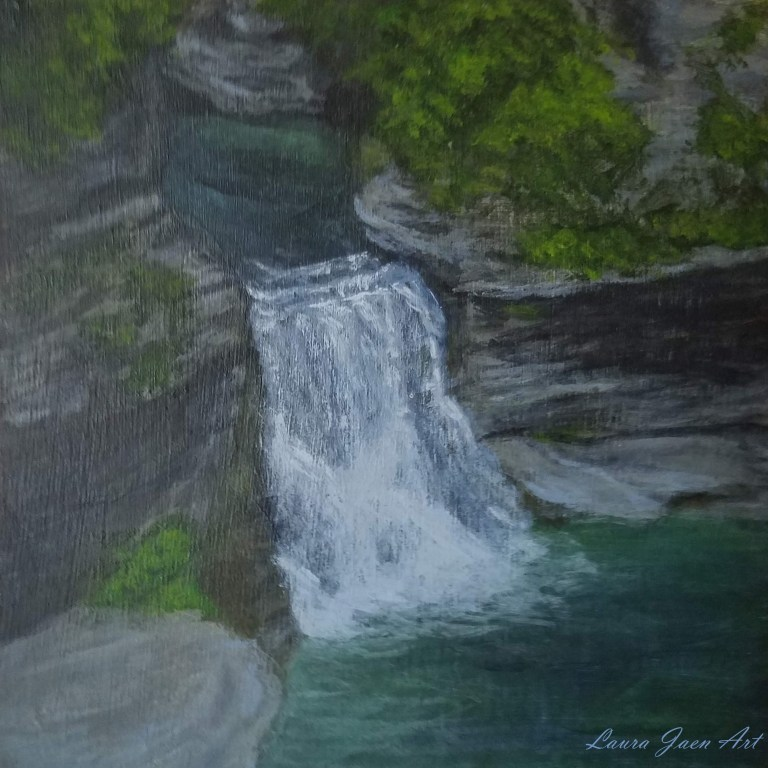 Lower Triphammer Falls by Laura Jaen Smith. Acrylic landscape painting of Fall Creek Gorge waterfall Ithaca from 50 NY Waterfalls Project.