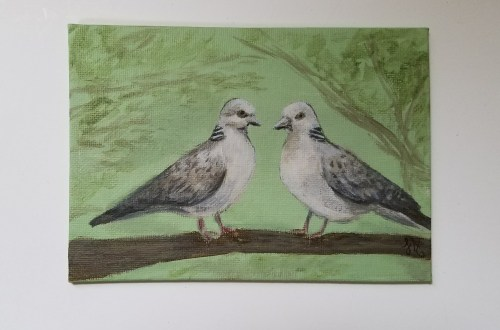 Two Turtle Doves by Laura Jaen Smith. 12 Days of Christmas series.