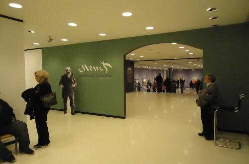Photo of entrance to Monet: Impressionist Revolution exhibition at Albright-Knox Art Gallery Buffalo NY by Laura Jaen Smith.