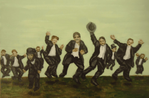 Ten Lords a Leaping by Laura Jaen Smith. Acrylic painting from 12 Days of Christmas series.