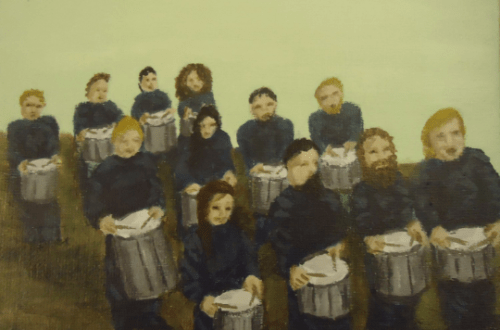 Twelve Drummers Drumming by Laura Jaen Smith. Acrylic painting from 12 Days of Christmas series.
