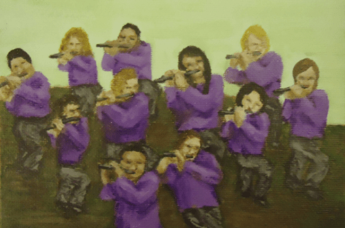 Eleven Pipers Piping by Laura Jaen Smith. Acrylic painting from 12 Days of Christmas series.