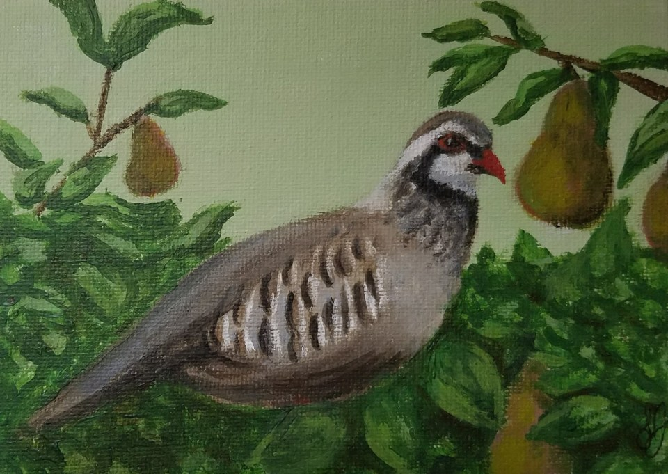 Partridge in a Pear Tree by Laura Jaen Smith. Acrylic painting.