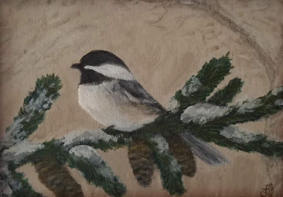 Winter is for the Birds: Chickadee by Laura Jaen Smith. Framed acrylic painting of chickadee..