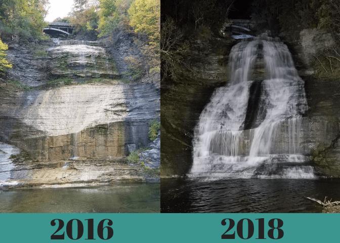 Photo comparison of Shequaga Falls 2016 and 2018