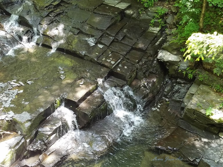 Photo of Bridge 7 Falls Fillmore Glen State Park gorge trail Moravia NY by Laura Jaen Smith.