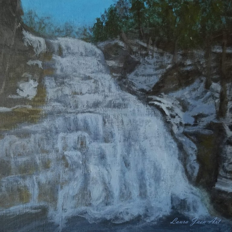 Hector Falls (Winter) by Laura Jaen Smith. Square acrylic landscape painting of Burdett waterfall in winter from 50 New York Waterfalls series.