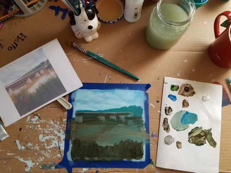 Work in progress photo of Owego Bridge on Susquehanna River