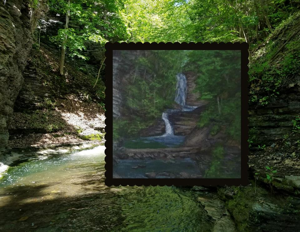 Deckertown Falls by Laura Jaen Smith. Acrylic landscape waterfall painting superimposed over reference photo.