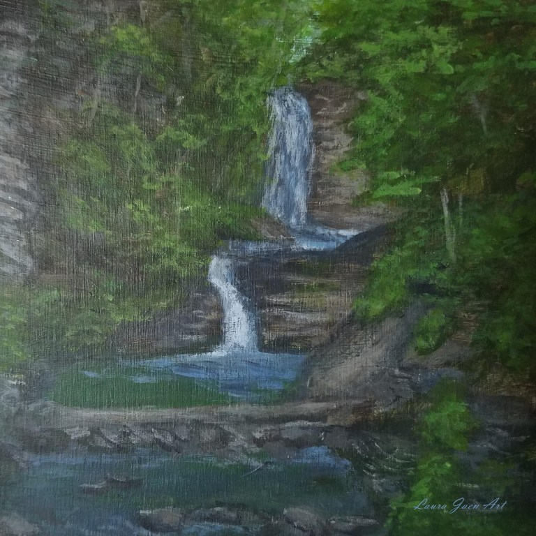 Deckertown Falls by Laura Jaen Smith. Square acrylic landscape painting of waterfall in Montour Falls from 50 New York Waterfalls series