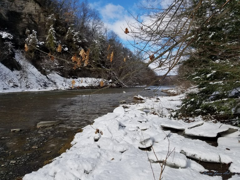 Photo of Taughannock Creek in winter Taughannock Falls State Park by Laura Jaen Smith