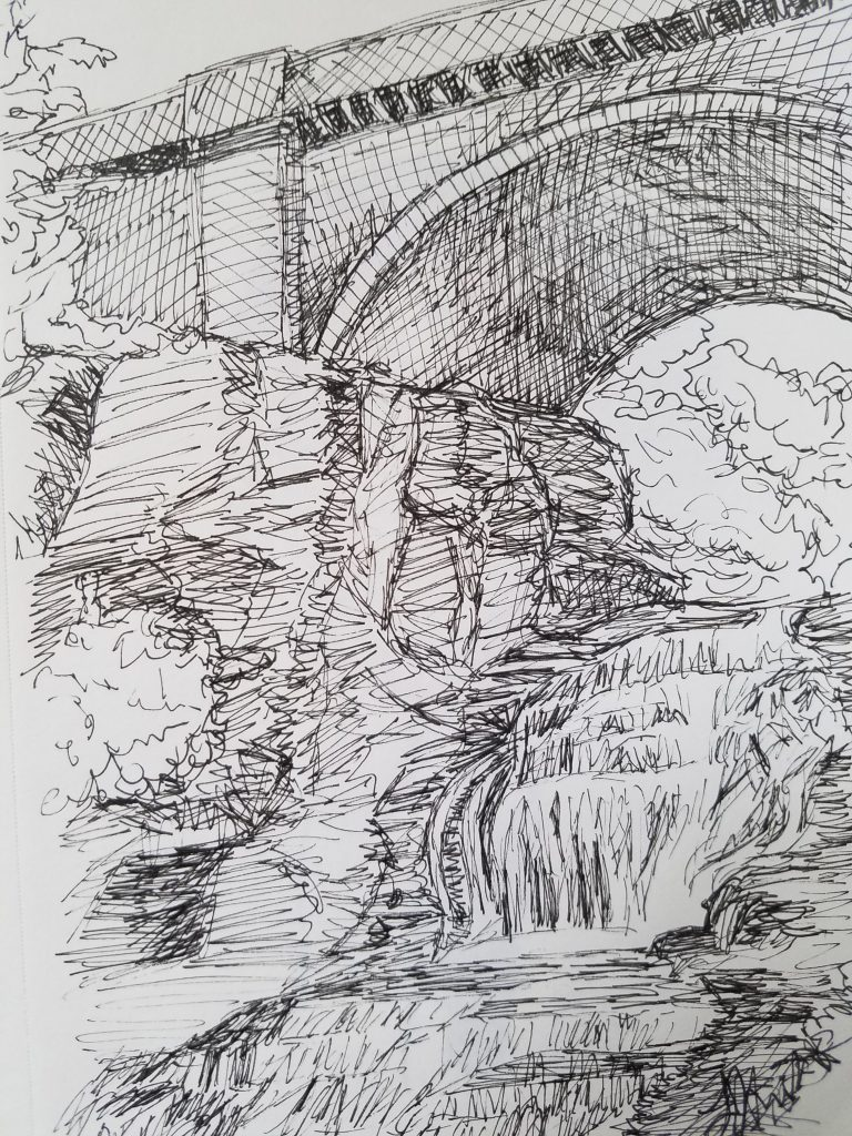 Giant's Staircase by Laura Jaen Smith. Black and white ink drawing of waterfall in Cascadilla Gorge Ithaca.