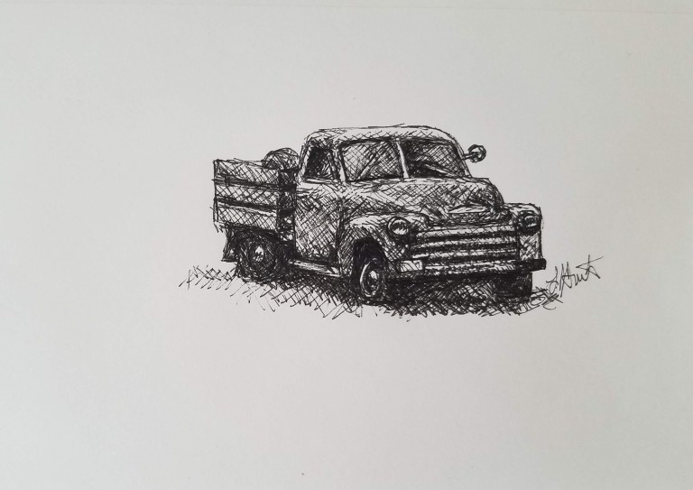Grandpa's Old Truck by Laura Jaen Smith. Black and white ink drawing of old vintage pickup truck.