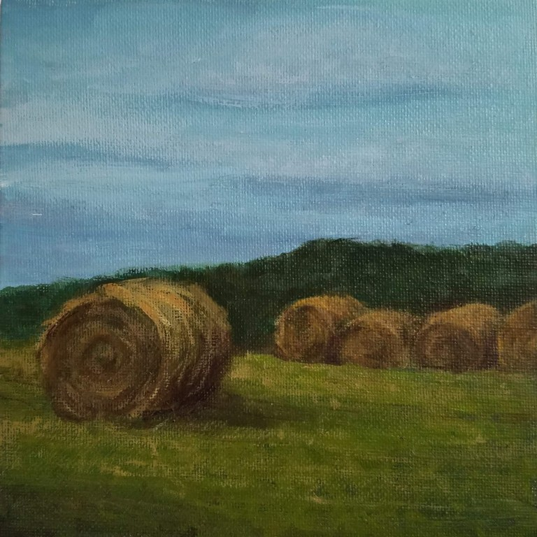 Haybales by Laura Jaen Smith. Square acrylic landscape painting of hay rounds in field.