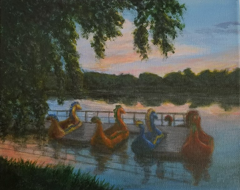 Dragon Boats at Twilight by Laura Jaen Smith. Acrylic landscape painting of Eldridge Park lake at sunset at four parked dragon boat rides.