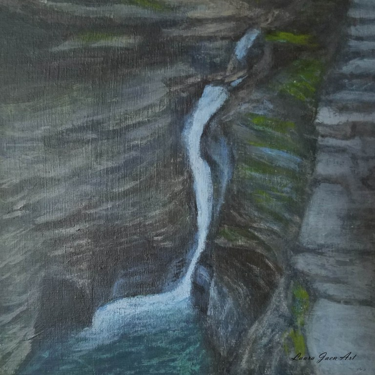 Pluto Falls by Laura Jaen Smith. Square acrylic waterfall painting of waterfall in Watkins Glen State Park from 50 NY Waterfalls series