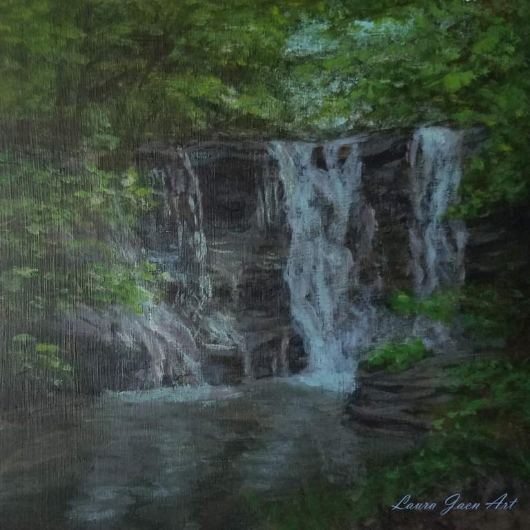 Twin Falls Upper Falls by Laura Jaen Smith. Acrylic landscape painting of waterfall in Watkins Glen. 50 NY Waterfalls Project.