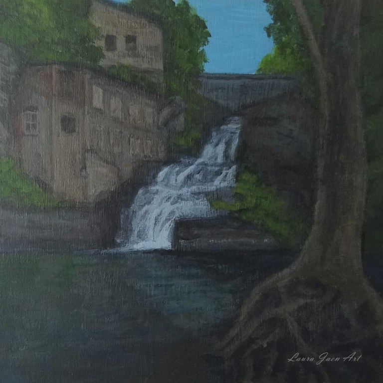 Businessman's Lunch Falls by Laura Jaen Smith. Square acrylic landscape painting of waterfall in Ithaca NY. 50 New York Waterfalls Series.