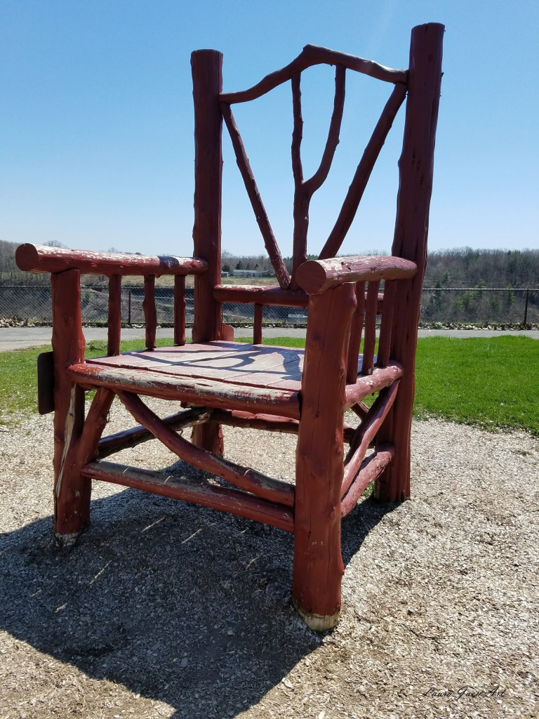 Photo of Letchworth State Park giant chair photo op by Laura Jaen Smith.