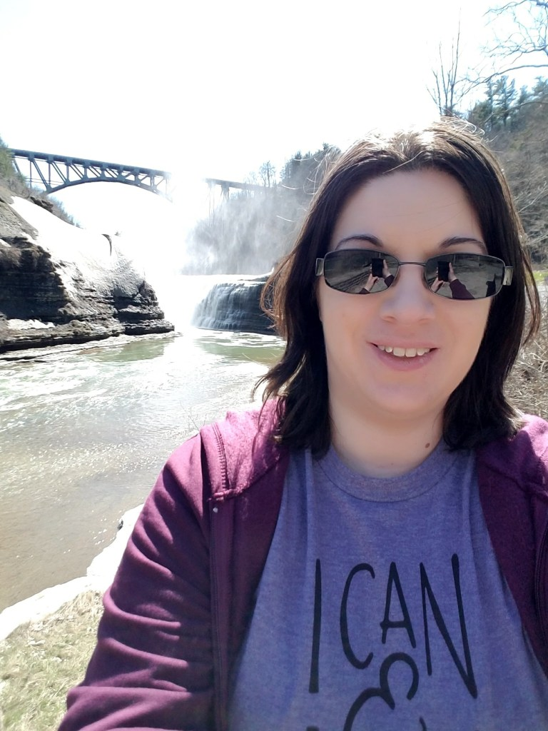 Laura Jaen Smith in front of Letchworth State Park Upper Falls