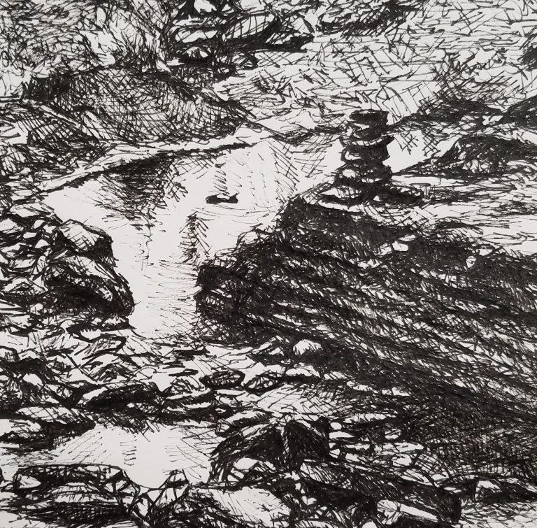 Cairn in the Creek by Laura Jaen Smith. Black and white ink drawing of creek with stacked stones.