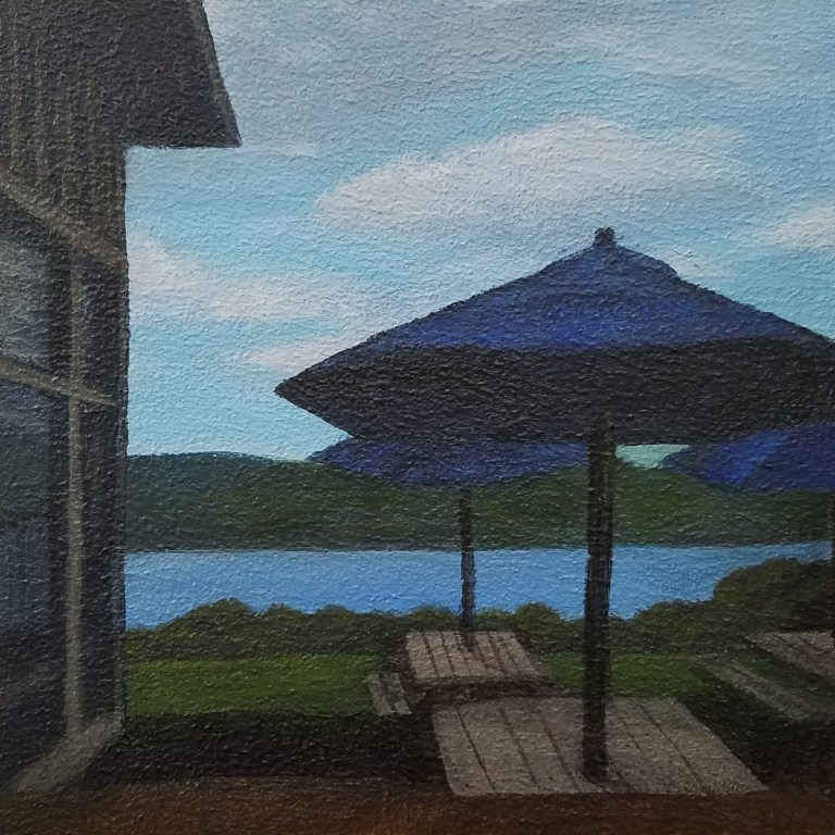 Brewery by the Lake by Laura Jaen Smith. Square acrylic landscape painting of patio area with Seneca Lake in background