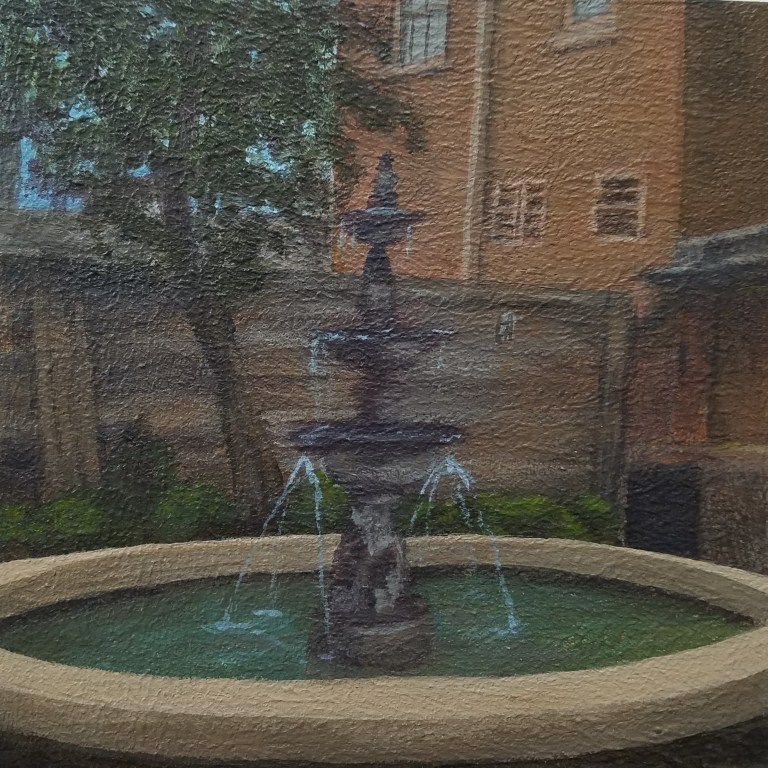 Fountain Flowing by Laura Jaen Smith. Square acrylic painting of fountain in downtown Corning NY