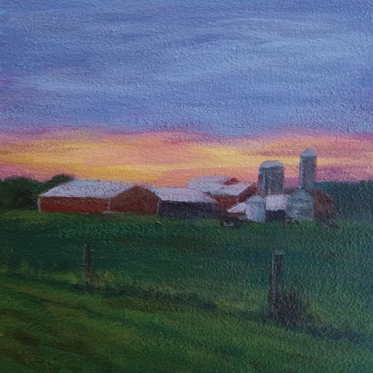 Country Sunset by Laura Jaen Smith. Square acrylic landscape painting of farm in distance with yellow, orange, purple sunset.