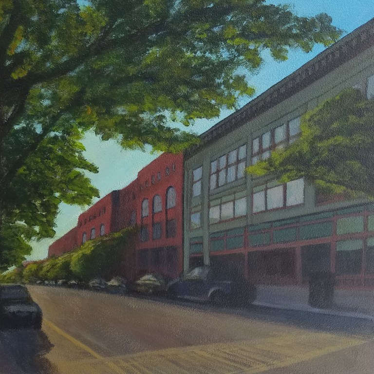 City Street by Laura Jaen Smith. Square acrylic landscape painting of downtown Corning NY