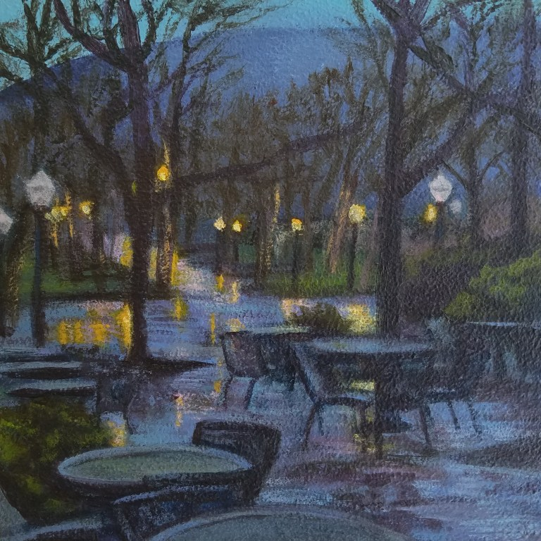 Autumn Rain by Laura Jaen Smith. Square acrylic landscape painting of Centerway Square Corning NY during rainy fall day. Purple and blues, tables, pathway in distance with yellow lights and reflections.