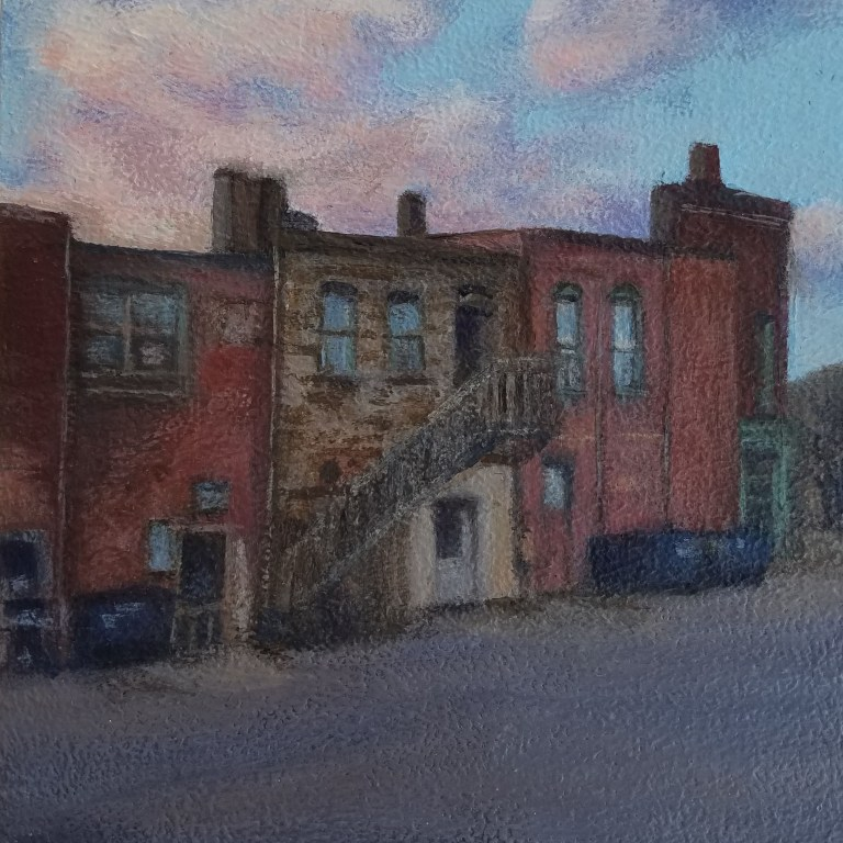 Alleyway at Sunset by Laura Jaen Smith. Square acrylic landscape painting of Corning NY alley back of buildings