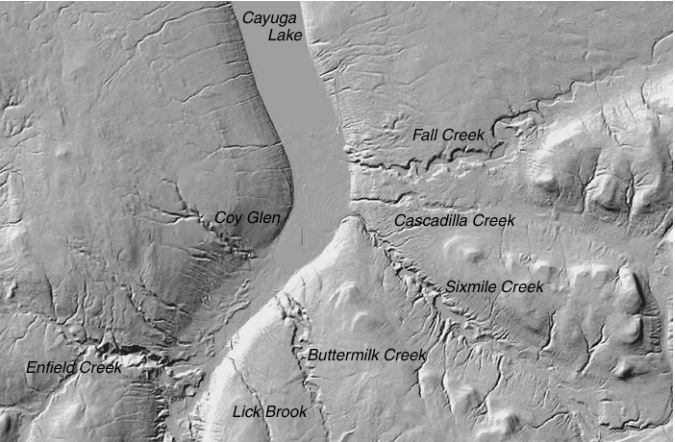 map of gorges in Ithaca from Cayuga Lake