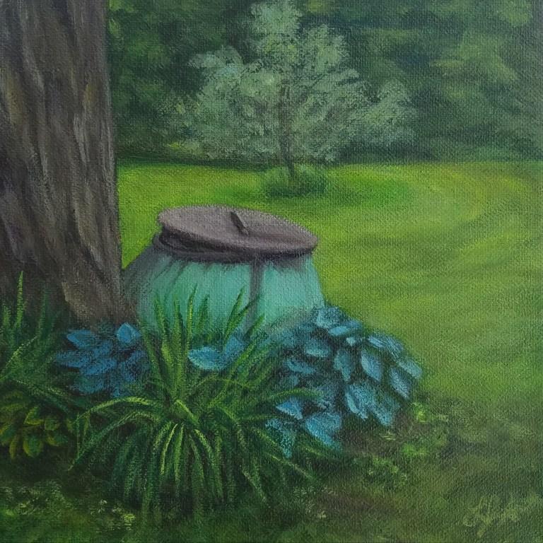 The Cauldron by Laura Jaen Smith. Acrylic painting of lawn decoration at Mark Twain's Quarry Farm.