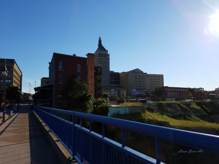 Photo of walking bridge near Lower Falls Genesee River in Rochester NY by Laura Jaen Smith
