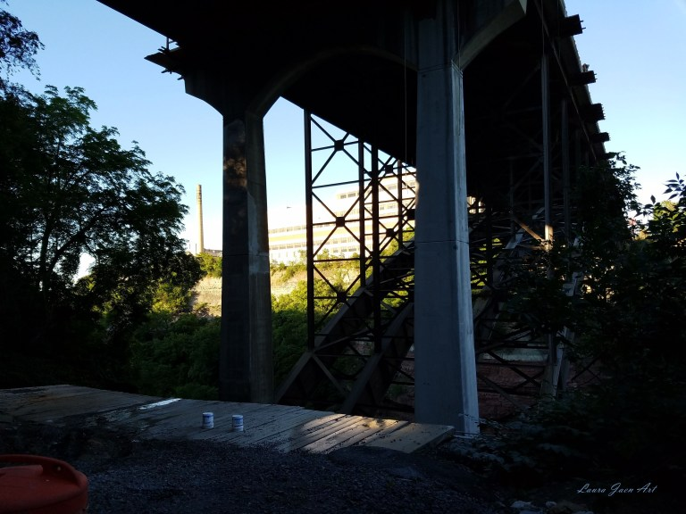 Photo of under bridge near Lower Falls Genesee River in Rochester NY by Laura Jaen Smith