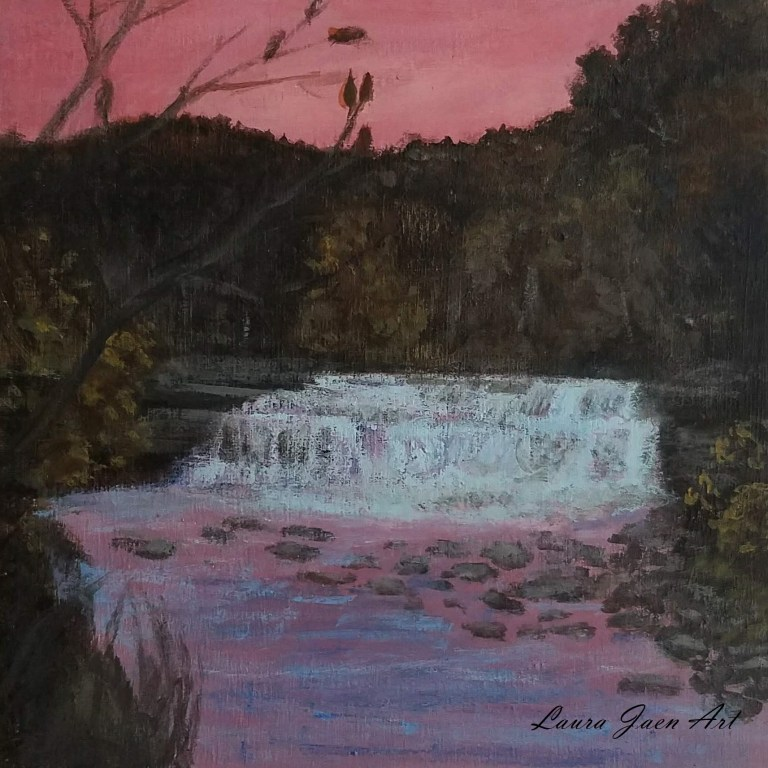 Lower Taughannock Falls by Laura Jaen Smith. Square acrylic landscape painting of waterfall during autumn at sunset. Pink sky and reflected purple water.