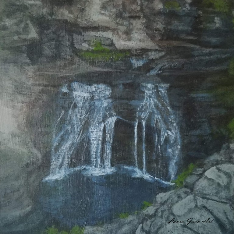 Unnamed Falls by Laura Jaen Smith. Square acrylic landscape painting of waterfall in Buttermilk Falls State Park Ithaca NY from 50 New York Waterfalls Series