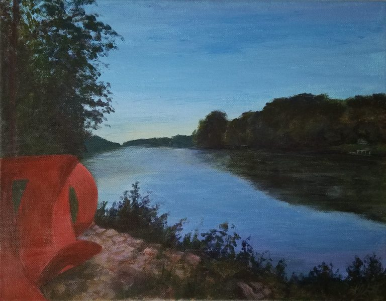 River of Progress by Laura Jaen Smith. Acrylic landscape painting from Ludovico Sculpture Trail in Seneca Falls NY.