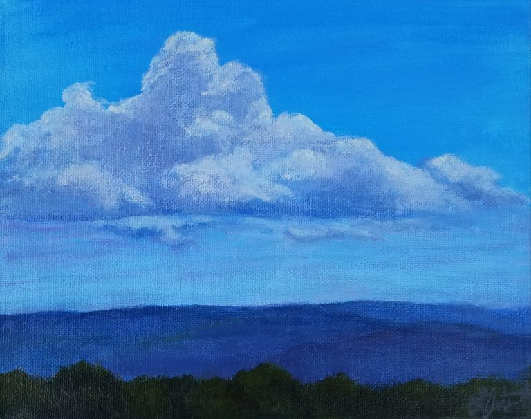 Rain Clouds Coming In by Laura Jaen Smith. Acrylic landscape painting of fluffy cloud over rolling hills of Elmira, NY from Quarry Farm.